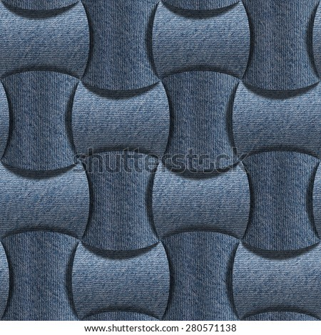 Abstract paneling pattern - seamless pattern - blue jeans textile - stock photo
