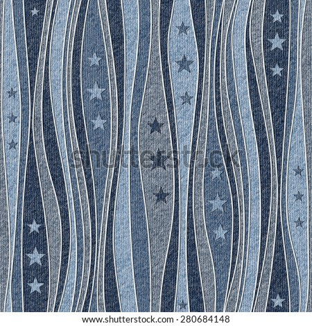 Abstract paneling pattern - Stars seamless pattern - blue jeans textile - stock photo