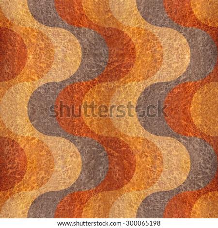 Abstract paneling pattern - waves decoration - seamless background - Carpathian Elm wood texture - stock photo