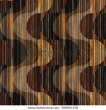 Abstract paneling pattern - waves decoration - seamless background - Ebony wood texture - stock photo