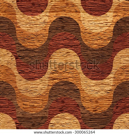 Abstract paneling pattern - waves decoration - seamless background -  wood texture - stock photo