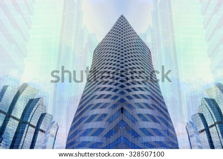 Abstract panoramic and perspective wide angle view high rise building skyscraper commercial modern city of future. Business concept of success industry tech architecture - stock photo