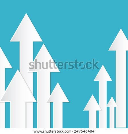 Abstract Paper Arrows on Blue Background