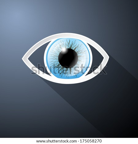 Abstract Paper Blue Eye on Dark Blue Background - Also Available in Vector Version  - stock photo