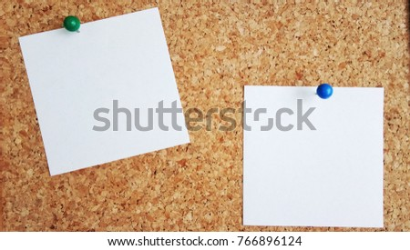 abstract paper note pin on cork board. cork board with blank notes. sticker note