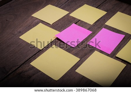 Abstract paper note sticky note  on wood . Background wood with blank notes. sticker note - stock photo