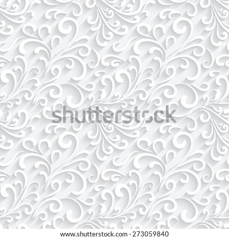 Abstract paper swirls, white raster background, seamless pattern