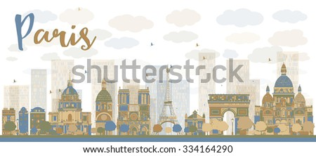 Abstract Paris skyline with color landmarks. Business travel and tourism concept with historic buildings. Image for presentation, banner, placard and web site. - stock photo