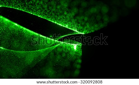 abstract particle background, 3d render with depth of field, glow and randomize elements - stock photo