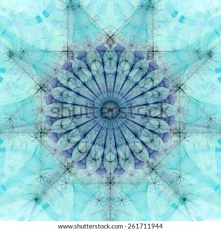 Abstract pastel colored high resolution fractal background with a detailed abstract circular flower/star with many petals in the middle, all in green and blue - stock photo