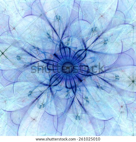Abstract pastel colored high resolution fractal background with a detailed abstract flower with six petals in the middle, all in blue and purple