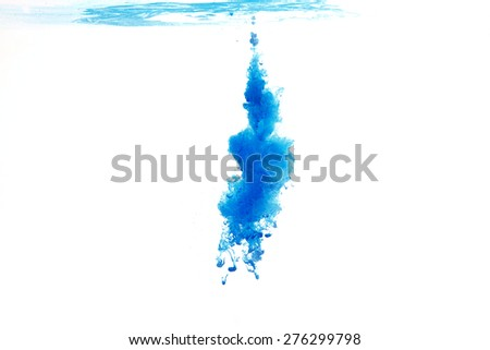 abstract pattern background with blue ink in water - stock photo