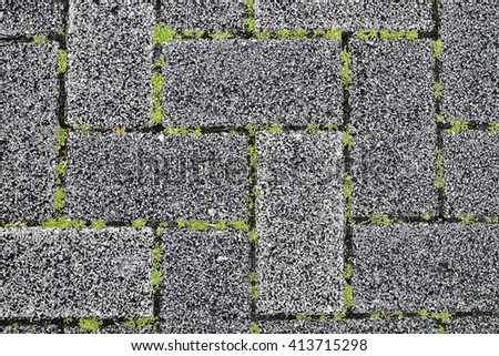 Abstract pattern grass and concrete background, lawn grass in concrete table. ideal use for background. - stock photo