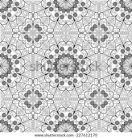 Abstract pattern seamless. Black-white ethnic ornament. Arabesque style