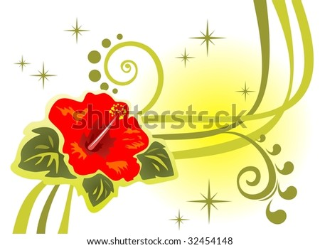 Abstract  pattern with flower and strips on a white background.