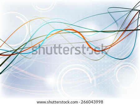 Abstract pattern with thin orange and blue lines on light background. Raster version - stock photo