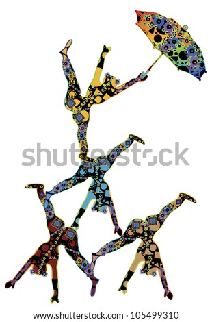 abstract patterned, people in the ethnic style of performing acrobatic number - stock photo