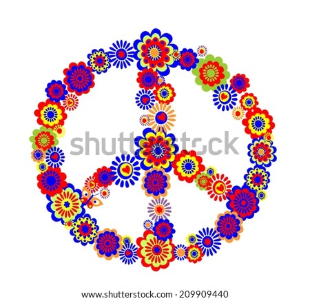 Abstract peace flower symbol. Raster copy - stock photo