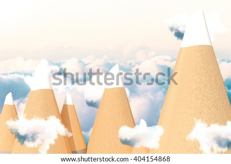 Abstract pencil tip mountains in blue cloudy sky. 3D Rendering - stock photo