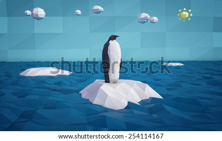 abstract penguin on an iceberg made of colored paper