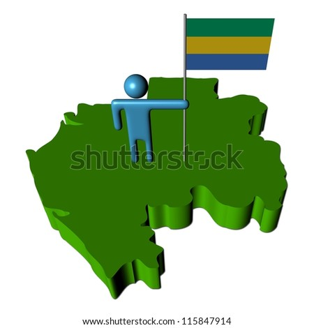 Abstract person with flag on Gabon map illustration