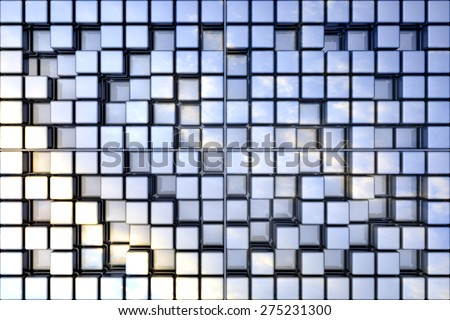 Abstract perspective cubic space available for background. - stock photo