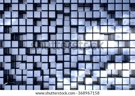Abstract perspective cubic space usable for background. - stock photo