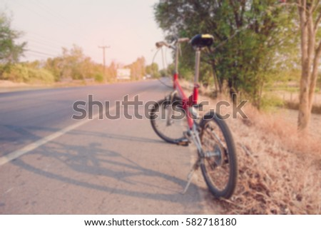 Wooden Landscape Standing Bicycle On Road Stock Photo ...