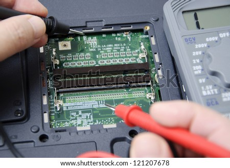 Abstract photo of laptop repair - stock photo