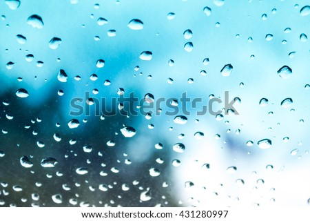 abstract photo of water drop on blue mirror : for background use