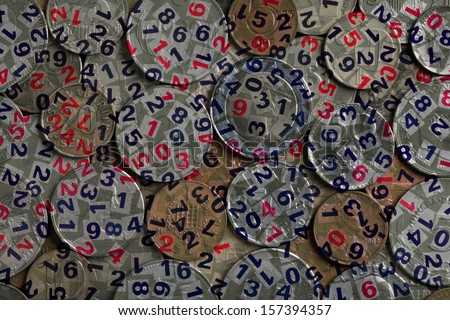 Abstract photo with coins and figures