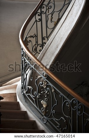Abstract picture of tha railing of a stair - stock photo