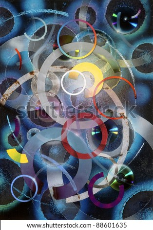 abstract picture painted by me, named Circles. It shows a collage of various colorful circles, disks and ring shapes