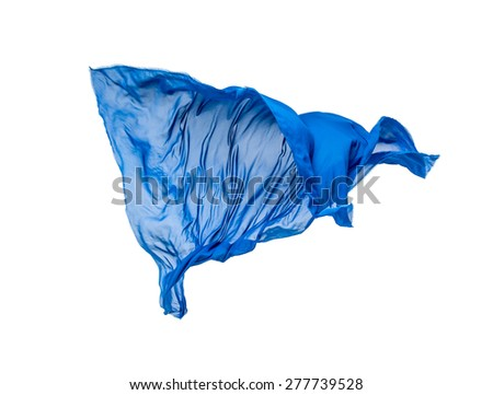 abstract piece of blue fabric flying, isolated on white, design element - stock photo