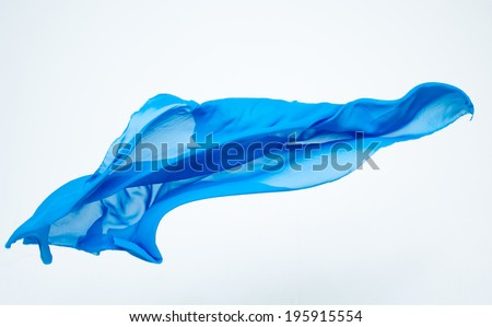abstract piece of blue fabric flying, studio shot, design element