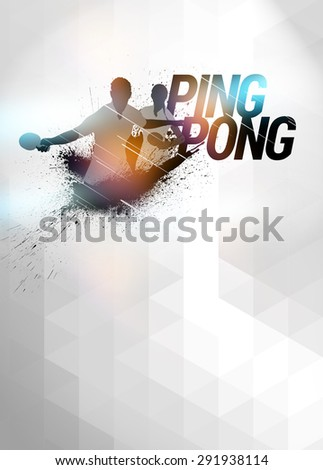 Abstract ping pong invitation poster or flyer background with empty space - stock photo