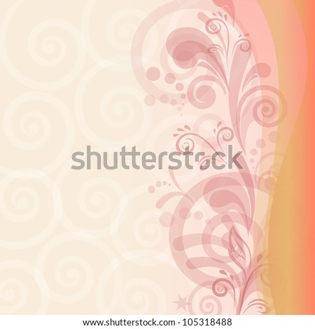 Abstract pink and orange background with symbolical flower and figures - stock photo