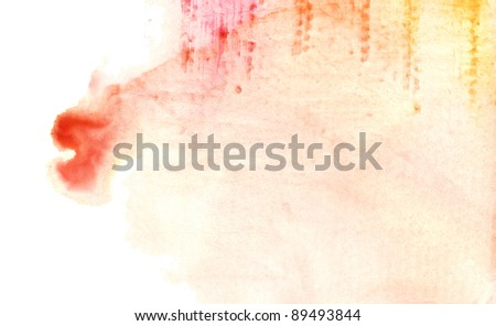 abstract pink and orange watercolor background - stock photo