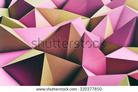 Abstract Pink and Yellow Low Poly 3D Background -  Retro analog effect with noise and film color simulation - Graphic resource - Web Background - stock photo