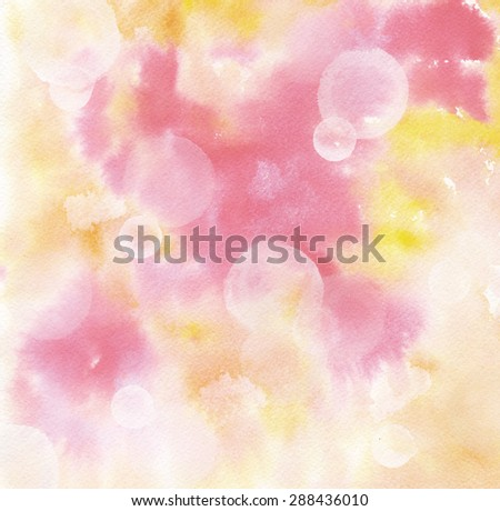 Abstract pink and yellow watercolour background texture with bokehs - stock photo