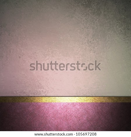 abstract pink background design layout with vintage grunge background texture lighting, pale pastel colors on dark pink border frame and accent ribbon in gold, elegant formal background book cover - stock photo