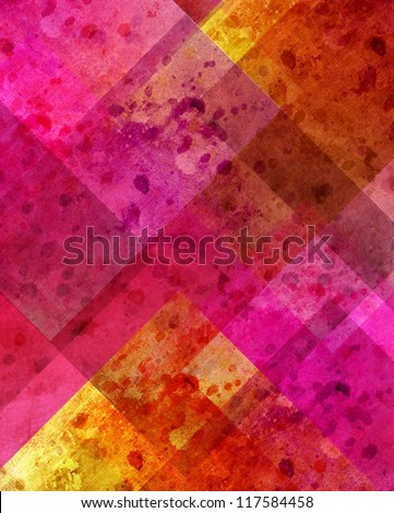 abstract pink background or yellow background with old stain spot vintage grunge background texture in plaid art background block layout design with yellow gold color accent on paper corner, colorful - stock photo