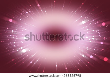 Abstract pink fractal composition. Magic explosion star with particles