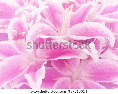 Abstract pink lily flower background - oil paint effect