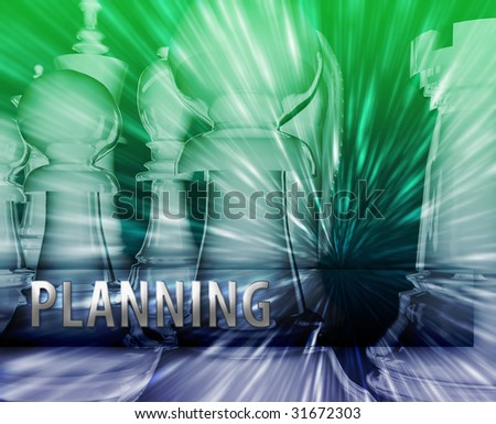 Abstract planning business strategy management chess themed illustration