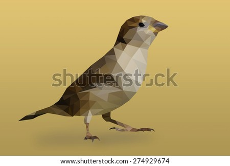 Abstract polygon little bird on brown background