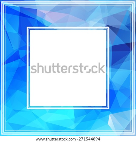 Abstract polygonal border with light blue triangles.