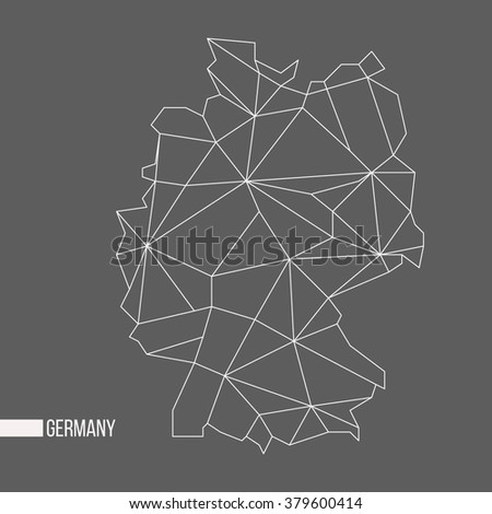 Abstract polygonal geometric Germany minimalistic map isolated on grey background - stock photo