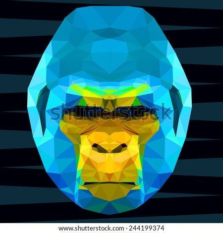 Abstract polygonal geometric triangle bright blue and yellow colored gorilla background for use in design. Raster copy. - stock photo