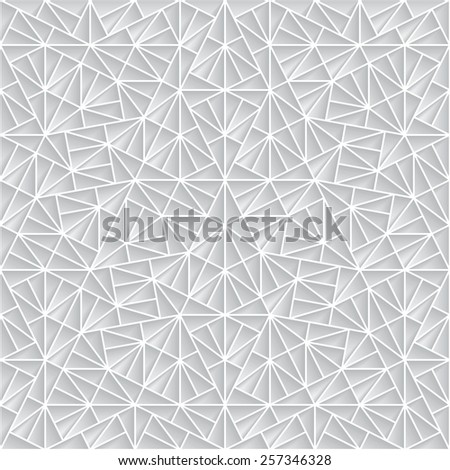 Abstract polygonal paper ornament, seamless geometric pattern, raster illustration - stock photo